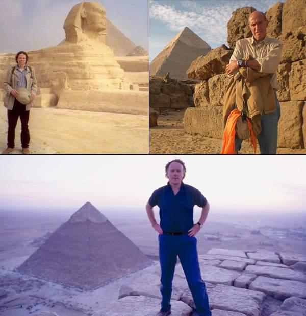 """Texto Foto: El geólogo de la Universidad de Boston, Robert Schoch, (a la izquierda), detectó erosión pluvial en la Esfinge de Gizeh, acontecida varios milenios antes del Imperio Antiguo Egipcio. Según los cálculos astronómicos de los autores de """"El Misterio de Orión"""", Robert Bauval (derecha), y Graham Hancock, (abajo), el conjunto de Gizeh fue posicionado hacia Orión sobre el año 10.500 a.C."""