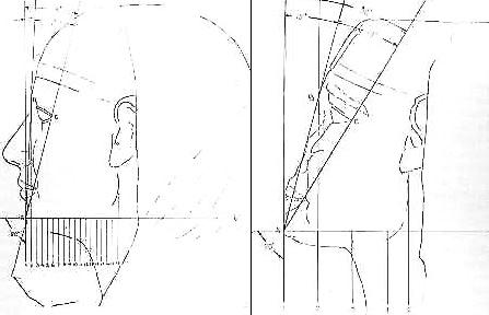 (izq) Analisis del perfil del rostro de Kefrén. (der) Analisis del perfil del rostro de la Gran Esfinge.