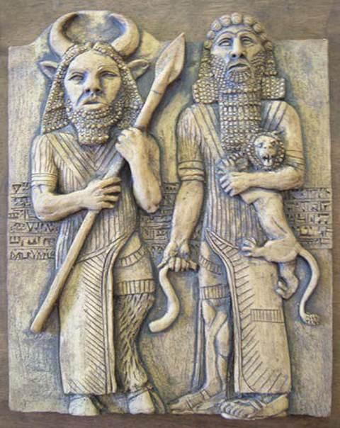 Enkidu y Gilgamesh.
