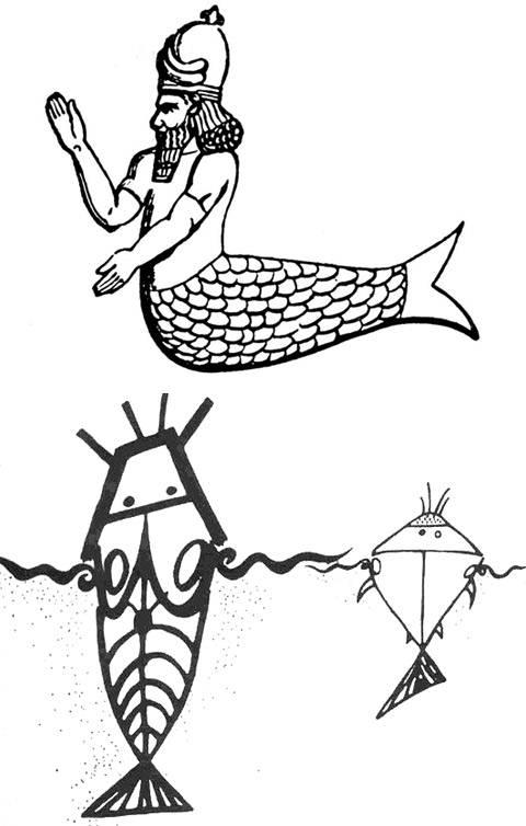 """Representación de Oannes (arriba) y dibujo de la tribu Dogon sobre los Nommos, los """"dioses-pez"""" (abajo)."""