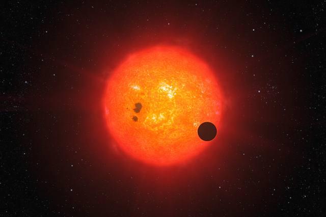 Recreación artística del nuevo planeta de agua orbitando su estrella.