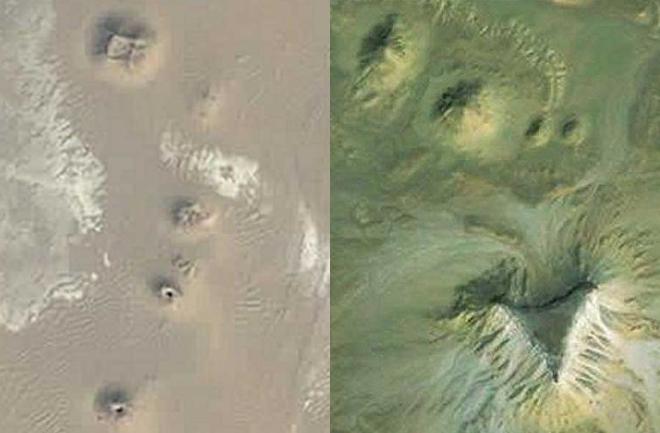 Imagen satelital de los montículos piramidales.