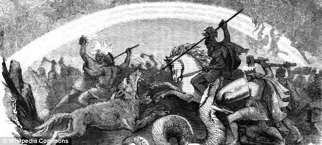 'Kampf der untergehenden Götter', lo que traducido significa 'La Batalla de los Dioses Condenados' fue pintada en 1882 por Wilhelm Wägner y retrata la pelea final entre los dioses.