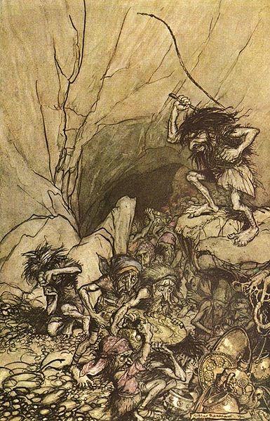Alberico esclavizando a los nibelungos. Ilustración de A. Rackham.