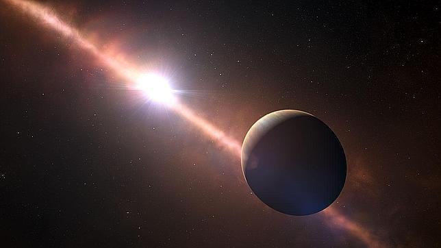 Impresión artística del exoplaneta Beta Pictoris b.