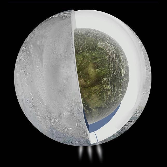 Ilustración del interior de Encelado, con una coraza de hielo, un corazón rocoso y un océano subterráneo en el polo sur.
