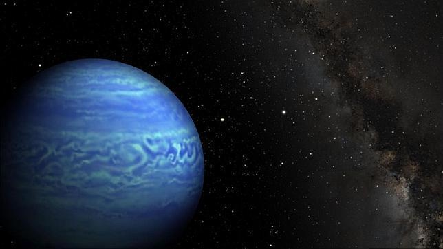 La ilustración muestra cómo podría ser la enana marrón WISE J085510.83-071442.5. El Sol es la estrella que aparece a la izquierda.