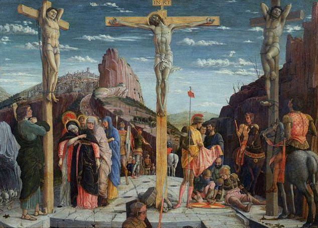 """La mayoría del arte cristiano muestra a Jesús clavado a la cruz con sus brazos formando una """"T"""" sobre la cruz, como esta pintura de Andrea Mantegna que se muestra en el Musee du Louvre, París."""