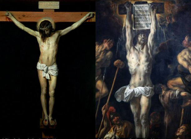 Algunos artistas como Jacob Jordaens (izquierda) o Diego Velazquez (derecha) eligieron representar la escena de la crucifixión con los brazos de Jesús sobre su cabeza.