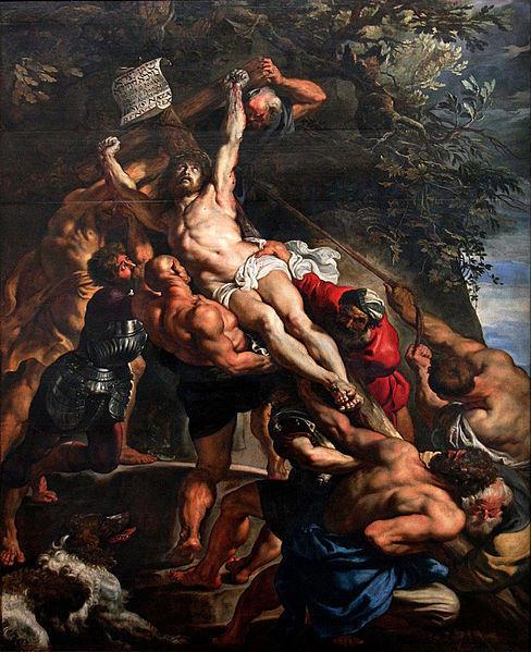 """Lienzo central del tríptico """"La Elevación de la Cruz"""" de Peter Paul Rubens."""