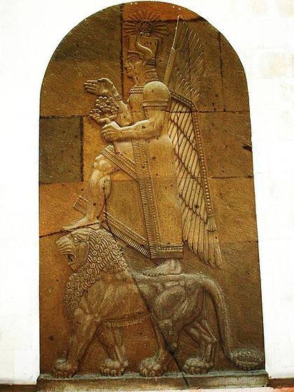 Representación del dios Haldi, Museo de la Fortaleza Erebouni: Yerevan, Armenia.