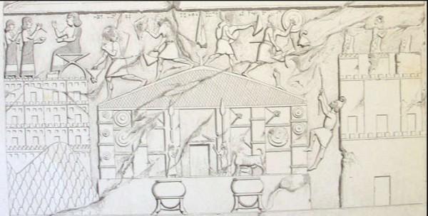 Dibujo del siglo 19 sobre un antiguo relieve que representa el saqueo de los asirios sobre el templo del dios Haldi.