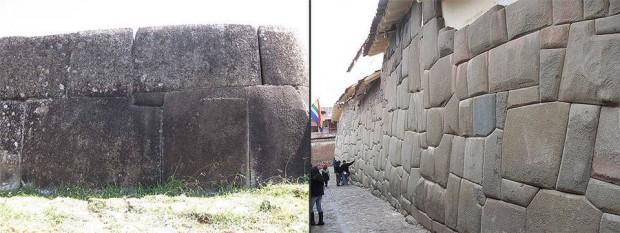 Izquierda: Ahu Vinapu, Isla de Pascua. Derecha: Muro Inca en Cusco,