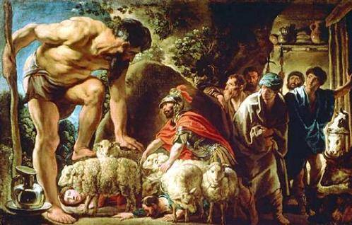 Odiseo en la cueva de Polifemo, Jacob Jordaens, primera mitad del siglo XVII.