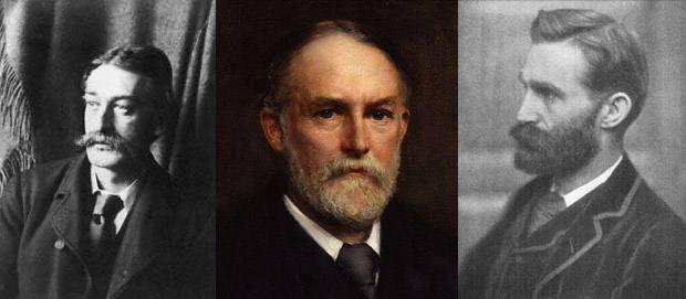 Edmund Gurney (izquierda); Frederic Myers (centro); Frank Podmore (derecha).