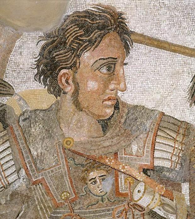 Detalle del mosaico de Issos (también conocido como mosaico de Alejandro Magno), realizado cerca del año 325 a. C. en Pompeya.