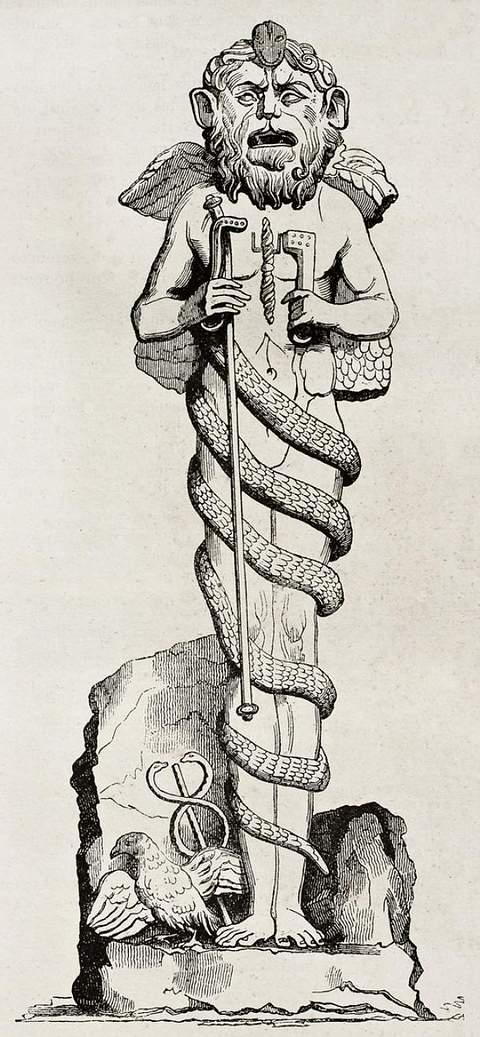 Vieja ilustración de una estatua de Mitra en la Biblioteca del Vaticano. Autor desconocido. Publicado en Magasin Pittoresque, Paris, 1840.