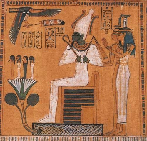 Osiris es el dios egipcio de la resurrección, símbolo de la fertilidad y regeneración del Nilo; es el dios de la vegetación y la agricultura; también preside el tribunal del juicio de los difuntos en la mitología egipcia.
