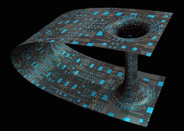 El espacio-tiempo puede ser doblado y distorsionado. A pesar que se necesita una enorme cantidad de materia o energía para crear tales distorsiones, éstas son teóricamente posibles. En el caso de un agujero de gusano, se genera un atajo al doblar la fábrica del espacio-tiempo. (Imagen: Impresión artística).