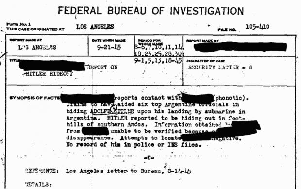 Captura de la primera página del documento del FBI (descargable al pie de este artículo).