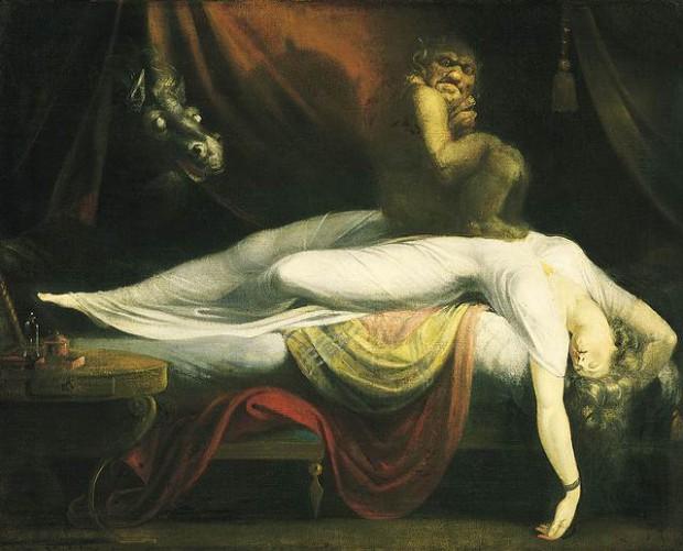 """La obra 'La Pesadilla"""" de Henry Fuseli pudo haber estado inspirada en la presión sobre el pecho sentida durante alucinaciones que tienen lugar en la parálisis del sueño."""