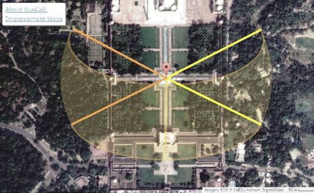 Las dirección de la salida del sol (amarillo) y de la puesta (naranja) durante los solsticios de verano e invierno, se conecta con los pabellones ubicados en las cuatro esquinas del jardín.
