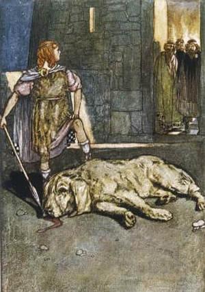 'CuChulainn mata al perro de Culain'. por Stephen Reid, 1904.
