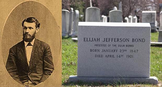 Izquierda: Foto de Elijah Bond, circa 1880. Derecha: Parte frontal de su lápida.