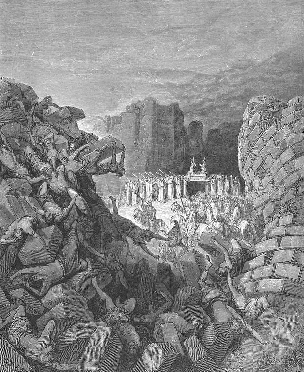 """«El Arca de Yahvé dio una vuelta a la ciudad; después, todos volvieron al campamento, donde pasaron la noche. Josué se levantó de madrugada y los sacerdotes tomaron el Arca de Yahvé. Los siete sacerdotes que llevaban las siete trompetas de cuerno de carnero iban delante del Arca de Yahvé, tocando sus trompetas durante la marcha; delante de ellos iban los armados y la retaguardia iba detrás del Arca de Yahvé; se desfilaba al sonido de las trompetas. El segundo dia dieron también una vuelta alrededor de la ciudad y después volvieron al campamento. Así hicieron durante seis días. El dia séptimo se levantaron con el alba, dieron siete vueltas a la ciudad del mismo modo; solamente ese dia dieron siete vueltas alrededor de la ciudad. A la séptima vuelta, mientras los sacerdotes tocaban las trompetas, Josué dijo al pueblo: """"Dad el grito de guerra, porque Yahvé os ha entregado la ciudad""""». (Josué 6, 11-16)."""