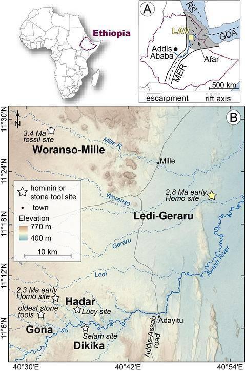 Ubicación del yacimiento Ledi-Geraru, en Etiopía.
