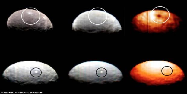 Estas imágenes tomadas por la sonda Dawn, destacan dos regiones de Ceres que contienen puntos brillantes.