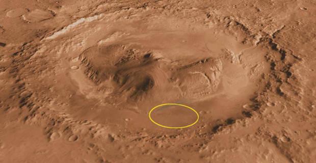 Lugar donde se encuentra Curiosity dentro del cráter Gale, Marte.
