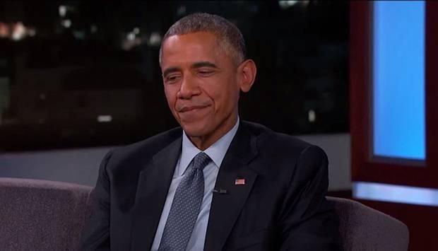Obama durante la entrevista en Jimmy Kimmel Live.