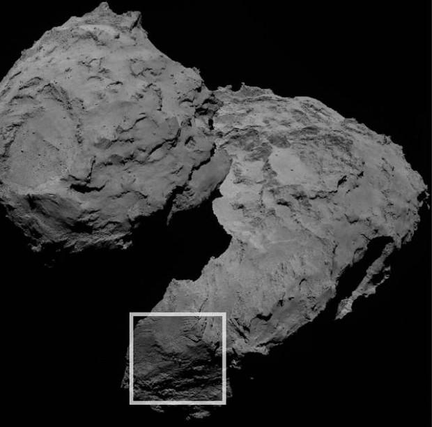 Las tres curiosas rocas se hallan en la región Aker del cometa 67P/C-G.