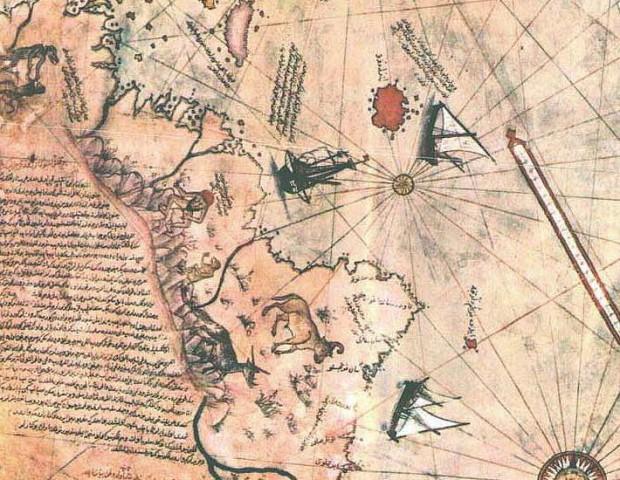 Un blemmyae aparece al norte de Sudamérica (¿Guayana?) en el famoso y controvertido mapa de Piri Reis.