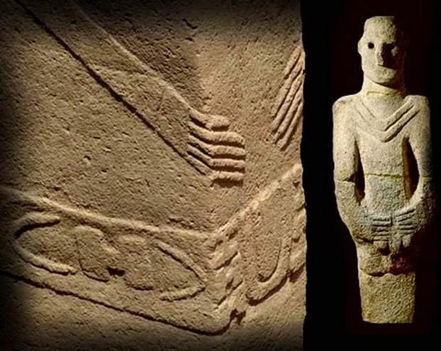 Izquierda: Gobekli Tepe (c. 9600 a.C.). Derecha: Primera estatua humanoide, Urfa (12000 a.C.).