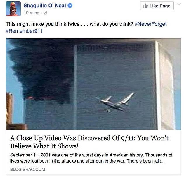 Captura del post compartido en la página oficial de Facebook de Shaquille O'Neil.