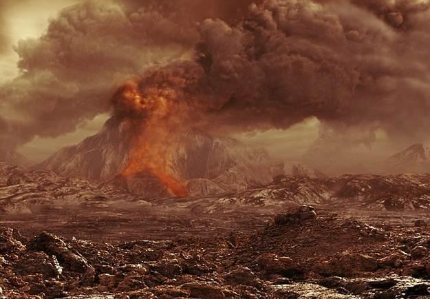 Impresión artística de un volcán venusino.