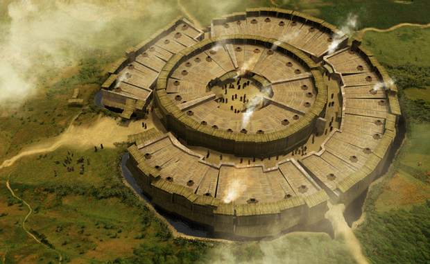 Arkaim es una ciudad amurallada conocida como el «Stonehenge ruso», puesto que podría haber sido utilizada por los pueblos antiguos para estudiar las estrellas, tal como el sitio británico. IMAGEN: Reconstrucción artística del aspecto original de Arkaim.
