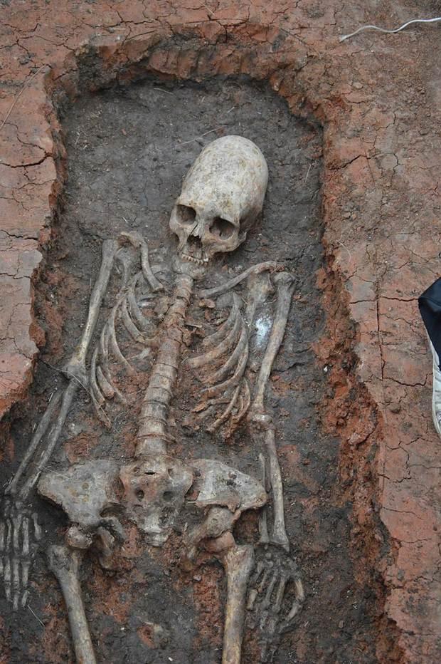 Esqueleto desenterrado en Arkaim.