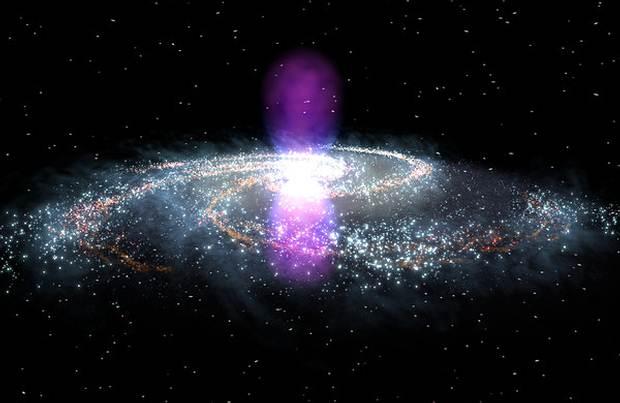 Las estructuras anteriormente ocultas, que fueron detectadas por el telescopio espacial de rayos gamma Fermi de la NASA, abarcan 25.000 años luz al norte y al sur del núcleo galáctico.
