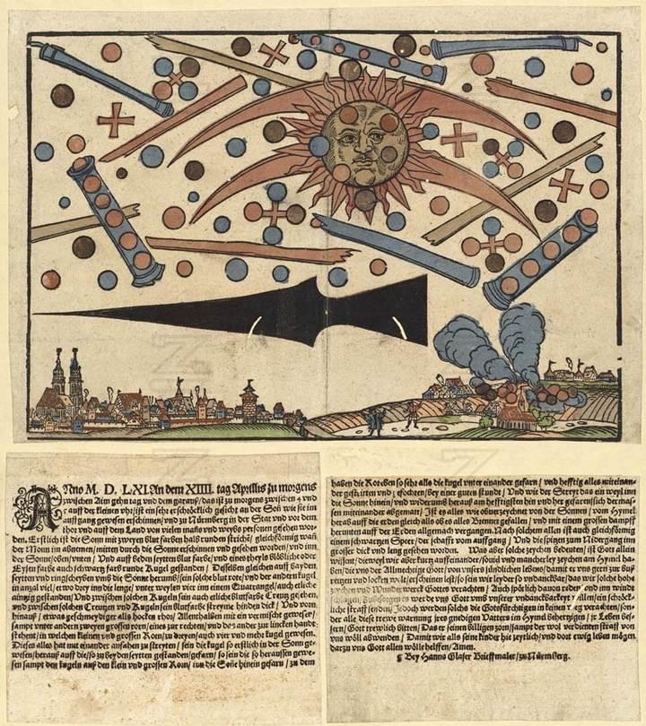 Esta octavilla procede de Núremberg y cuenta la nueva de una «muy horripilante aparición» en el momento de la salida del Sol, el 14 de abril de 1561. Fue vista «por muchas personas, varones y mujeres». Eran «esferas» de color rojo sangre, azulado y negro, o «discos anulares», cerca del Sol, «tres por ejemplo en fila / a veces cuatro en cuadrado, y también algunas solas / y también se han visto entre esas esferas algunas cruces de color sangre». Había también «dos grandes tubos» (o tres)... «en cuales pequeños y grandes tubos / estaban de a tres / también de a cuatro y más esferas. Y todos ellos comenzaron a pelearse entre sí». El fenómeno duró aproximadamente una hora. Luego «todo ello como ofuscado por el Sol / cayó a la Tierra desde el cielo como si todo ardiera / y con gran vapor desapareció poco a poco sobre la Tierra». También se vio, bajo las esferas, una figura alargada, «igual que una gran lanza negra». Naturalmente, esta «visión» se entendió como advertencia divina.