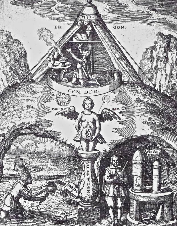 Grabado del siglo XVII que ilustra la preparación de la «piedra filosofal» y se interpreta como un símbolo del trabajo espiritual de los iniciados para conseguir el conocimiento secreto de la Naturaleza que perseguía esta Fraternidad.