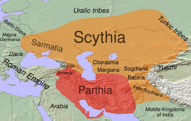 Extensión aproximada de Escitia y de las lenguas escitas (anaranjado) en el siglo I.