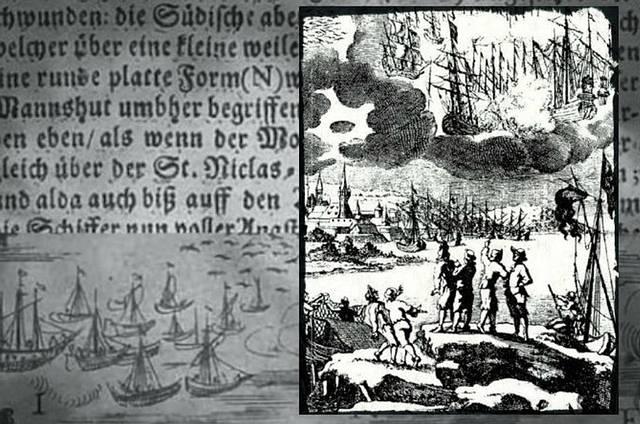 Ilustración que acompaña al texto de Erasmus Francisci. Ante la inexistencia de un léxico aeronaútico en esa época, los objetos voladores de la batalla son retratados y descritos como navíos o barcos.