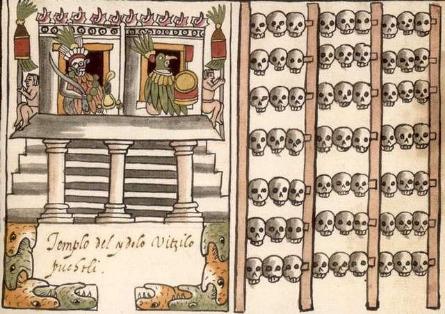 Tzompantli asociado al Templo Mayor, Códice Ramírez.