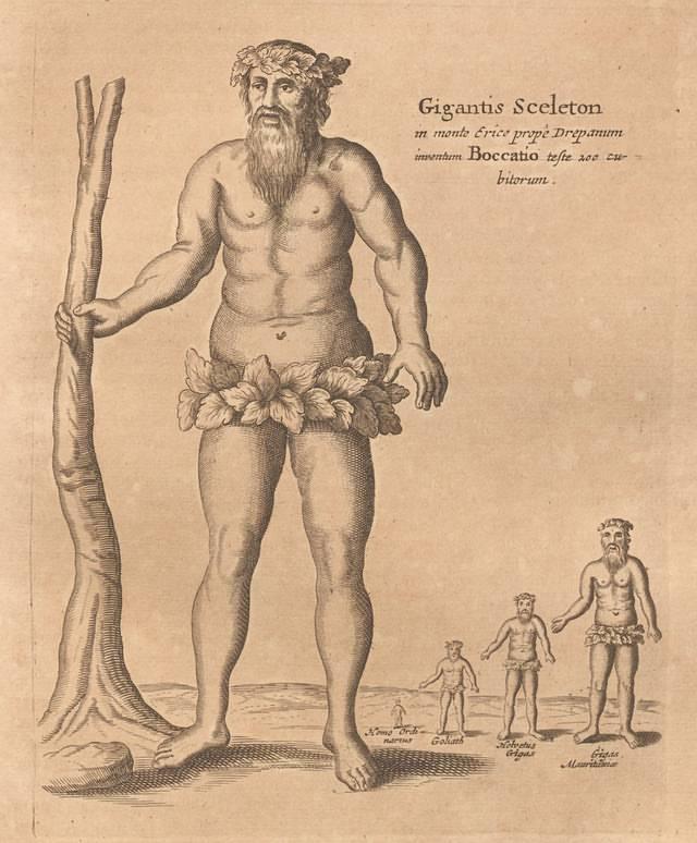 Ilustración de 'Mundus Subterraneus' que sugiere, en base al hallazgo de ciertos esqueletos, la existencia de una raza de gigantes.