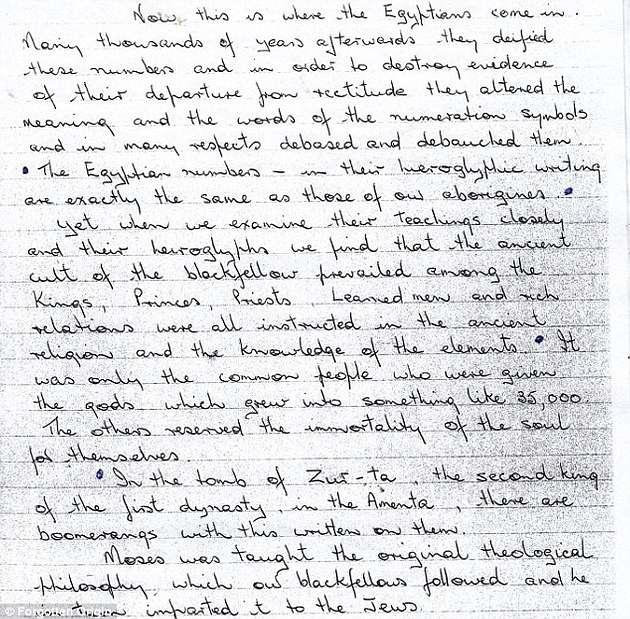 Una carta escrita por Frederic Slater que hace referencia a la formación rocosa.
