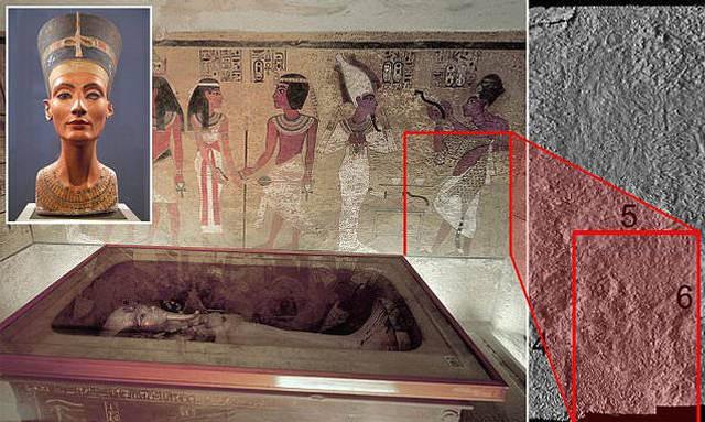 Remarcada en rojo una de las posibles puertas ocultas que llevarían hacia la cámara que contiene la momia de Nefertiti.