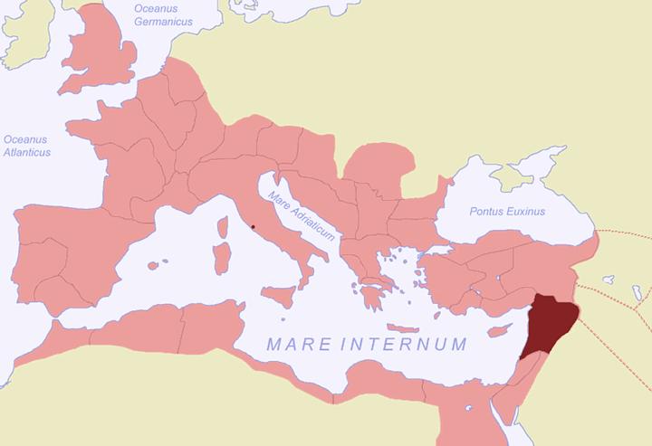 Antigua provincia romana de Siria (en bordó), año 116 d.C. Hoy parte del Líbano, Siria y Turquía.